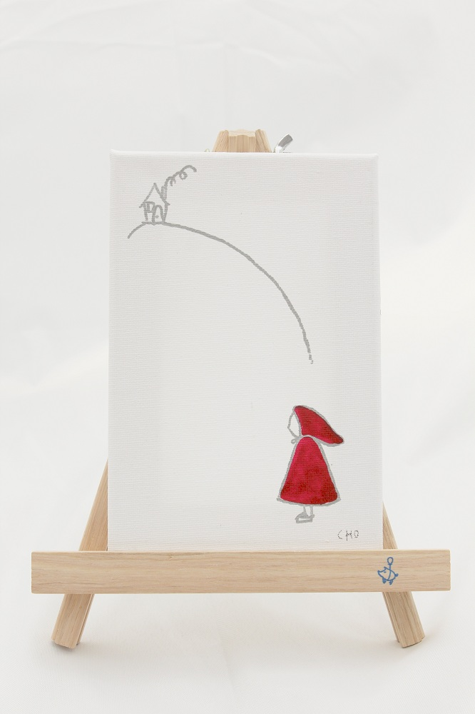 original canvas drawing - little red riding hood