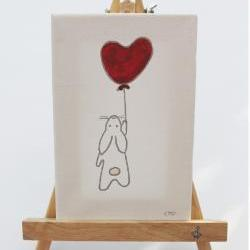 original canvas drawing - love bunny