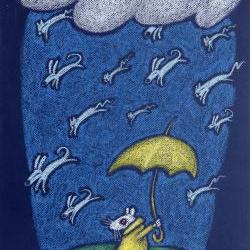 mini framed canvas - raining cats & dogs