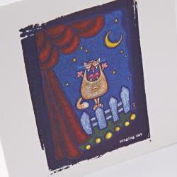 embossed greeting card - singing cat